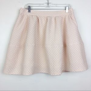 Express Blush/Cream Textured Polka Dots Skirt 10